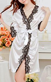 Women's Silk / Polyester Sexy Robes / Satin & Silk Nightwear Patchwork