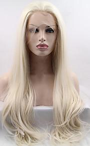Syntetisk blonder foran parykker Rett Naturlig hårlinje Blond Dame Blonde Forside Karneval Parykk Halloween parykk Naturlig parykk Lang