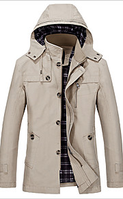 Men's Simple Casual Trench Coat-Solid Colored