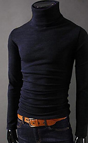Hombre Básico Deportes Camiseta, Cuello Alto Delgado Un Color Gris oscuro L / Manga Larga