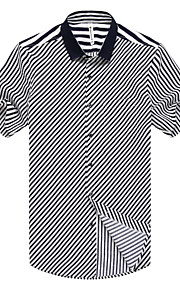رجالي قميص مخطط, عمل أسود L / كم قصير / الصيف