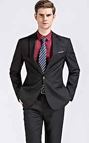 בגדי ריקוד גברים שחור כחול XXL XXXL 4XL חליפות מידות גדולות סגנון רחוב אחיד דש קלאסי / שרוול ארוך / עבודה