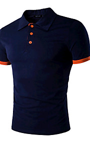 男性用 スポーツ - ベーシック Polo 活発的 シャツカラー スリム ソリッド コットン ブラック & レッド / 半袖