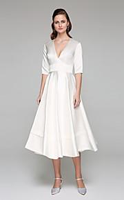 adaaa8fdc100 Γραμμή Α Λαιμόκοψη V Κάτω από το γόνατο Σατέν Φορέματα γάμου φτιαγμένα στο μέτρο  με Ζώνη