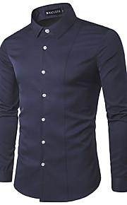 Муж. Офис Рубашка Хлопок, Классический воротник Деловые / На каждый день Однотонный Серый L / Длинный рукав / Весна / Осень