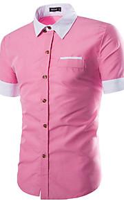 رجالي قطن قميص نحيل ياقة كلاسيكية - الأعمال التجارية / كاجوال لون سادة وردي بلاشيهغ XL / كم قصير / الصيف / عمل