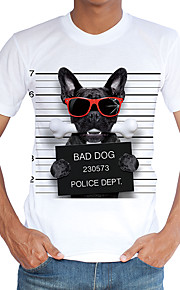 Hombre Chic de Calle Deportes / Playa Estampado Camiseta, Escote Redondo Delgado Animal Perro Blanco XL / Manga Corta / Primavera / Verano