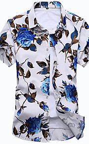 رجالي قطن قميص نحيل ياقة كلاسيكية - بوهو طباعة ورد, شاطئ أبيض XXXXL / كم قصير / الصيف