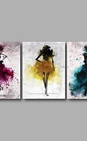 Impression sur Toile Abstrait A fleurs/Botanique Moderne, Trois Panneaux Toile Format Horizontal Imprimé Décoration murale Décoration