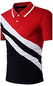 男性用 パッチワーク Polo 活発的 / モダンシティ シャツカラー スリム カラーブロック コットン / 半袖