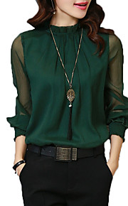 Women's Work Basic Shirt - Solid Colored Stand / Lantern Sleeve