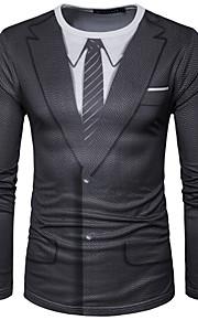 Hombre Chic de Calle Deportes Estampado Camiseta, Escote Redondo Geométrico Negro L / Manga Larga
