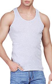 男性用 スポーツ タンクトップ 活発的 / ストリートファッション ラウンドネック スリム ソリッド コットン / ノースリーブ