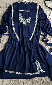 Women's Sexy Satin & Silk Robes Nightwear Solid Colored