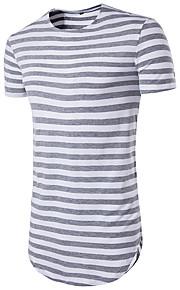 남성용 줄무늬 라운드 넥 슬림 프린트 - 티셔츠, 베이직 스포츠 루비 L / 짧은 소매 / 여름 / 긴