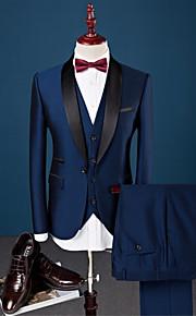 ネービーブルー ソリッド スリムフィット コットン / ポリエステル / スパンデックス スーツ - ショールカラー シングルブレスト 一つボタン