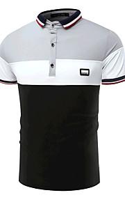 男性用 Polo 活発的 シャツカラー スリム カラーブロック コットン ブラック&ホワイト / 半袖