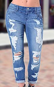 Mujer Chic de Calle Algodón Pitillo Vaqueros Pantalones - Un Color rasgado