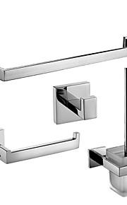 Bad Zubehör-Set Gute Qualität Messing 4pcs - Hotelbad Toilettenbürstehalter Turm Bar Kleiderhaken Toilettenpapierhalter