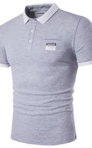 男性用 Polo ストリートファッション シャツカラー ソリッド コットン / 半袖