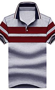男性用 クラシック Polo シャツカラー ストライプ コットン / 半袖