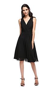 Linea-A A V Al ginocchio Chiffon Cocktail / Rimpatriata di classe / Graduazione Vestito con Con applique A incrocio di TS Couture®