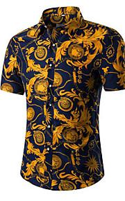 رجالي قطن قميص ياقة كلاسيكية - عتيق لون سادة رمادي XXXL / كم قصير / الصيف