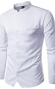 Hombre Tejido Oriental Básico - Algodón Camisa, Cuello Mao Un Color Blanco L / Manga Larga