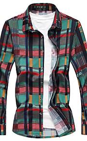 男性用 ワーク プラスサイズ シャツ ストリートファッション チェック コットン / 長袖