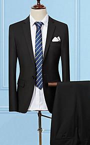 Muškarci Rad Ljeto Normalne dužine odijela, Jednobojni Klasični rever Dugih rukava Pamuk / Poliester Crvena / Lila-roza / Svijetlosiva XL / XXL / XXXL / Slim