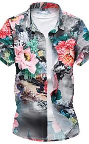 男性用 プリント プラスサイズ シャツ スリム フラワー コットン / 半袖