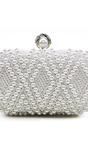 Women's Bags Silk Evening Bag Beading Pearl Detailing for Wedding Event/Party Casual Formal Office & Career Outdoor All Seasons White