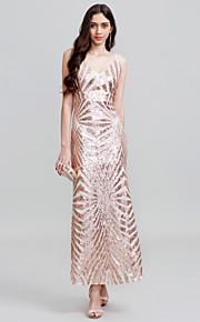 Tube / kolonne Spaghettistropper Gulvlang Polyester Skolebal / Formel aften / Bryllupsfest Kjole med Paillette ved TS Couture®