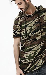 Ανδρικά Μεγάλα Μεγέθη T-shirt Βασικό / Κομψό στυλ street - Βαμβάκι καμουφλάζ Με Κουκούλα Μαύρο XL / Κοντομάνικο / Καλοκαίρι / Φθινόπωρο