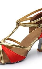 Naisten Latinalainen Tekonahka Silkki Sandaalit Sisällä Räätälöity korko Kulta Musta Hopea Ruskea Punainen Mahdollisuus räätälöidä