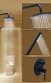 샤워 수전 - 라운드 오일럽된 브론즈 샤워 시스템 도자기 발브 Bath Shower Mixer Taps / 황동