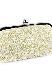 Women's Bags Polyester Evening Bag Pearl Detailing for Wedding Event/Party All Seasons Beige