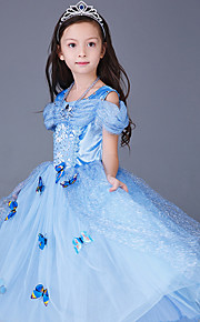프린세스 Cinderella 동화 드레스 코스프레 코스츔 파티 코스튬 아동용 여아 크리스마스 할로윈 카니발 페스티발 / 홀리데이 쉬폰 라이트 블루 / 옐로우 / 핑크 카니발 코스츔 레이스