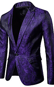 Men's Party / Daily / Daily Wear Sophisticated Spring / Fall Regular Blazer, Solid Colored / Floral Shirt Collar Long Sleeve Cotton Black / Red / Purple XL / XXL / XXXL / Slim