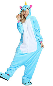 어른' 올인원 캐릭터 파자마 Unicorn 페가수스 조랑말 점프수트 파자마 벨벳 밍크 로즈 / 블루 / 핑크 코스프레 에 대한 남자와 여자 동물 잠옷 만화 페스티발 / 홀리데이 의상