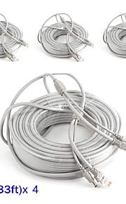 Kabler 4PCS 33ft CCTV RJ45 Video Cable DC Power Extension for Sikkerhed Systemer 1000cm 1.23kg