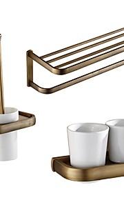 Bad Zubehör-Set Neoklassisch Messing 3 Stück - Hotelbad Toilettenbürstehalter Zahnbürstehalter Turm Bar