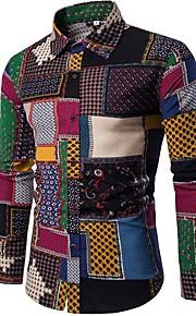 Erkek Pamuklu Forma Yaka İnce - Gömlek Ekose Vintage / Boho Gökküşağı XXXL / Uzun Kollu / Bahar / Sonbahar