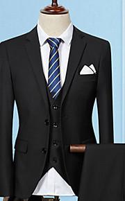 Per uomo Feste / Wear to work / Ufficio Autunno Lungo Completi, Tinta unita A V Manica lunga Cotone / Acrilico Viola / Vino / Grigio chiaro XL / XXL / XXXL