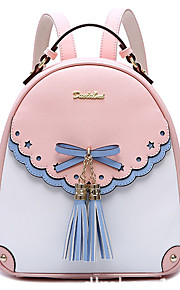 Women's Bags PU Backpack Tassel for Casual All Seasons Blushing Pink