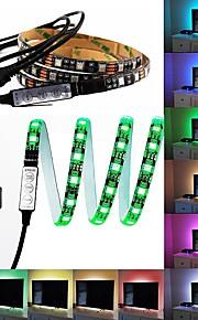 60 lysdioder 1M LED Strip Light 17-nøgle fjernbetjening RGB TV baggrundslys <5V