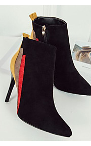 Women's Shoes Nubuck leather Spring Fall Comfort Bootie Boots Stiletto Heel for Casual Black