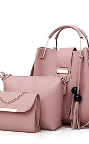 Women's Bags PU Polyester Bag Set 3 Pcs Purse Set Tassel Zipper for Casual All Seasons Red Blushing Pink Beige Gray Camel