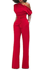 Women's Holiday Sophisticated Cotton Jumpsuit - Solid Colored, Bow Wide Leg One Shoulder