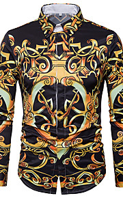 Hombre Vintage Algodón Camisa Floral / Geométrico Negro XL / Manga Larga